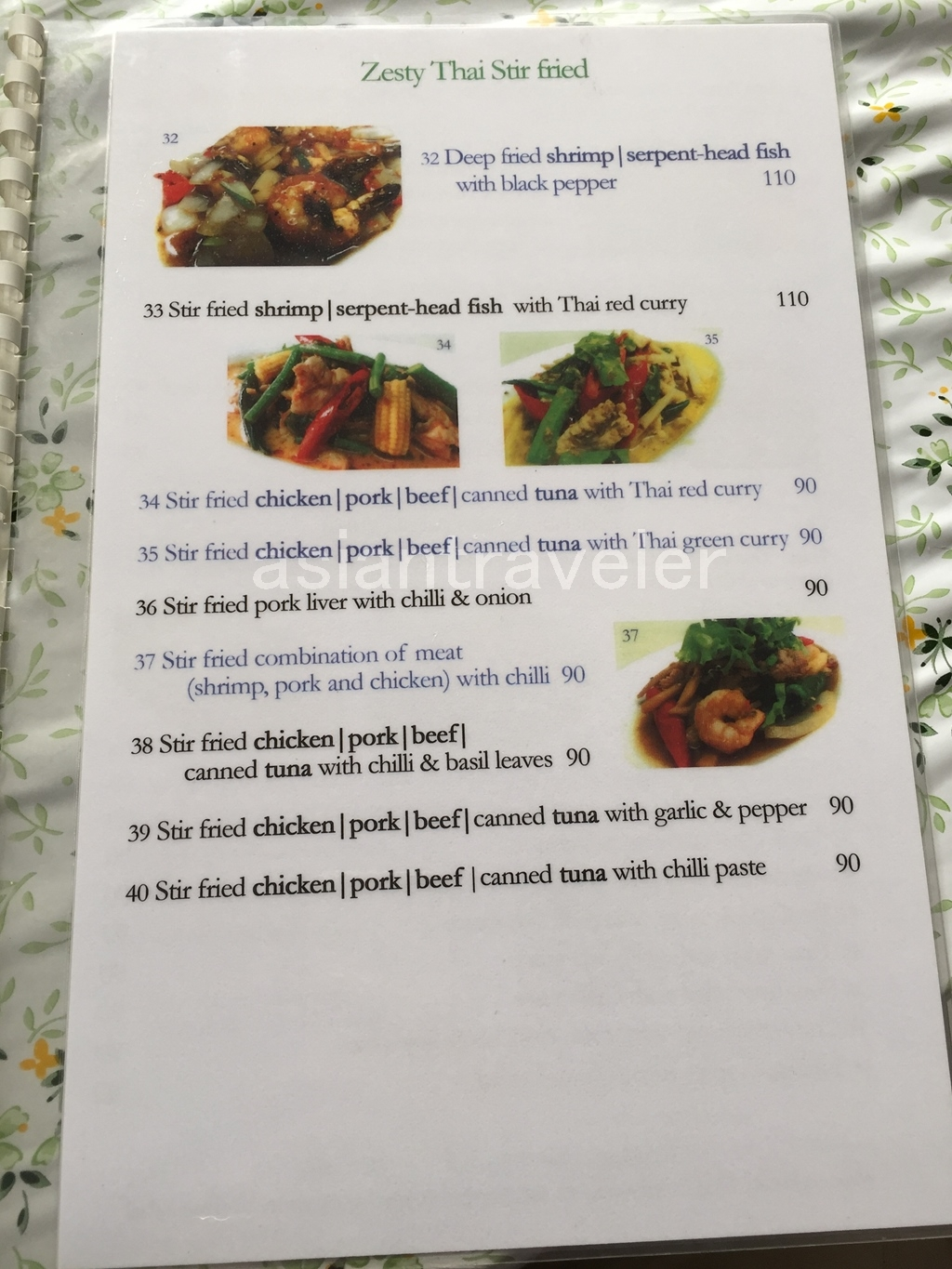 Bangkok Tong Lee Menu